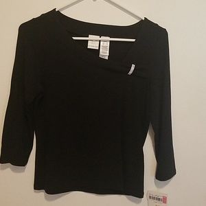 Women's INC 3/4 length sleeve black top